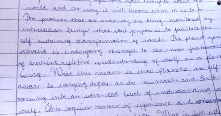 Theo, Handwriting Example