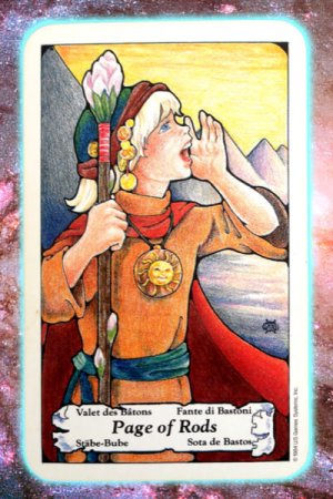 page of rods wands nine's path pleiadian tarot